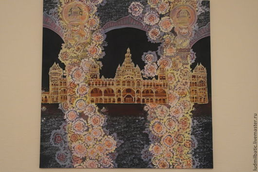 Город ручной работы. Ярмарка Мастеров - ручная работа. Купить Ритмы времени. Индия. Handmade. Тёмно-синий, картина батик