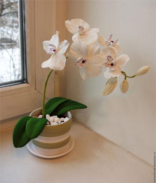 Интерьерные композиции ручной работы. Ярмарка Мастеров - ручная работа. Купить Орхидея из фоамирана. Handmade. Орхидея, цветы из фоамирана