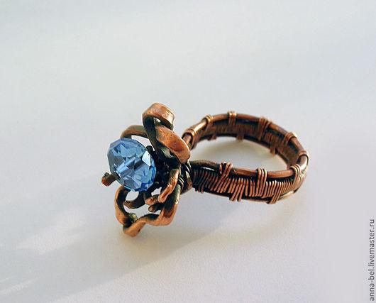 Кольца ручной работы. Ярмарка Мастеров - ручная работа. Купить кольцо с синей бусиной. Handmade. Коричневый, медное, голубой