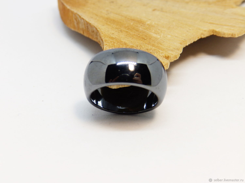 Широкое кольцо из гематита Темное зеркало 17.25, Кольца, Гатчина,  Фото №1