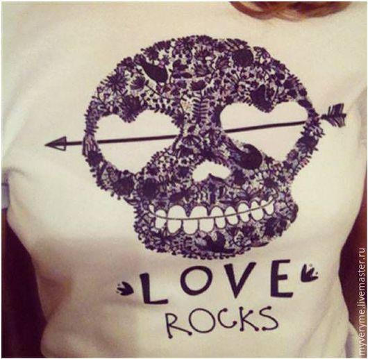 """Футболки, майки ручной работы. Ярмарка Мастеров - ручная работа. Купить Футболка """"Love rocks"""" , женская. Handmade. Футболка"""