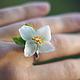 Кольца ручной работы. Ярмарка Мастеров - ручная работа. Купить Кольцо с цветком жасмина из полимерной глины. Handmade. кольцо с цветком