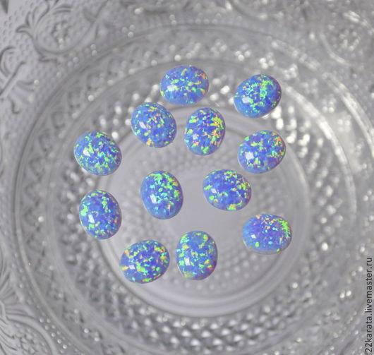 Для украшений ручной работы. Ярмарка Мастеров - ручная работа. Купить Опал синтетический, кабошон 12 х 10 (голубой). Handmade.