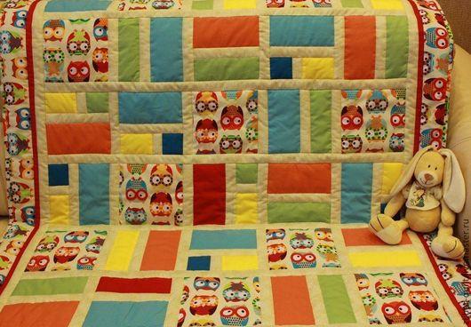 Пледы и одеяла ручной работы. Ярмарка Мастеров - ручная работа. Купить Лоскутное детское одеяло Совушки, пэчворк. Handmade.