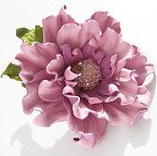 Украшения handmade. Livemaster - original item Leather flowers . Decoration brooch pin PINK SOFT -2.. Handmade.