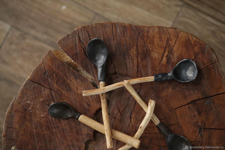 Ложка керамическая с деревянной ручкой, Ложки, Москва,  Фото №1