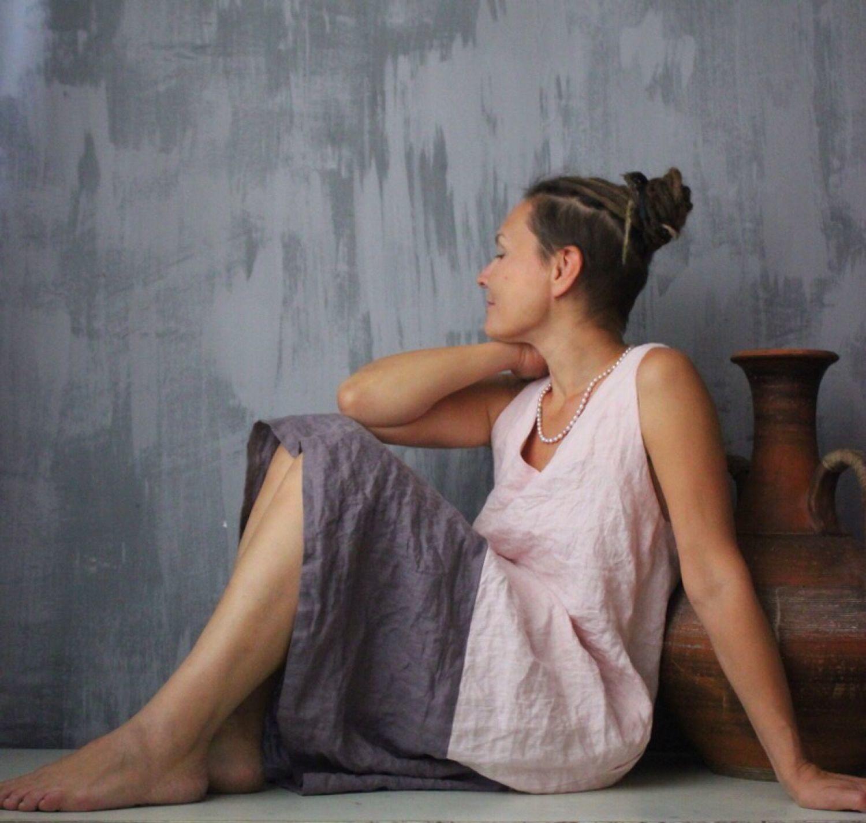 Платья ручной работы. Ярмарка Мастеров - ручная работа. Купить Сарафан льняной дизайнерский комбинированный. Handmade. Винтаж, дизайнерская одежда