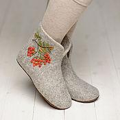 """Обувь ручной работы. Ярмарка Мастеров - ручная работа Валяные чуни """"Рябиновый бум"""" серые. Handmade."""