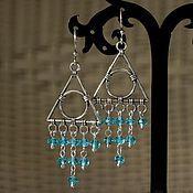 """Украшения ручной работы. Ярмарка Мастеров - ручная работа """"Голубой водопад"""" серьги из чешского стекла. Handmade."""