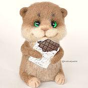 Куклы и игрушки handmade. Livemaster - original item Hamster with a chocolate bar felted toy. Handmade.
