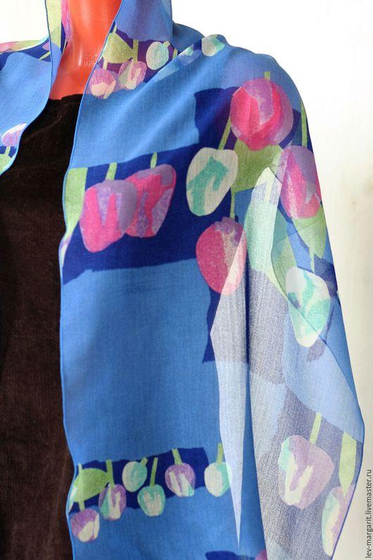 Винтажная одежда и аксессуары. Ярмарка Мастеров - ручная работа. Купить Шарф синий с тюльпанами. Handmade. Шарфик, шарфики