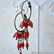 Украшения handmade. Livemaster - original item Earrings with red coral Barberry. Handmade.