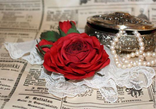 """Броши ручной работы. Ярмарка Мастеров - ручная работа. Купить """"Роза с бутонами"""" Брошь. Handmade. Бордовый, брошь цветок"""