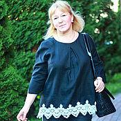 Одежда handmade. Livemaster - original item Blouse linen blouse-boho black linen art.018. Handmade.