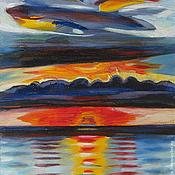 Картины и панно ручной работы. Ярмарка Мастеров - ручная работа картина Закат над Крымским морем. Handmade.