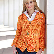 Одежда ручной работы. Ярмарка Мастеров - ручная работа Трикотажная кофта цвета апельсина. Handmade.