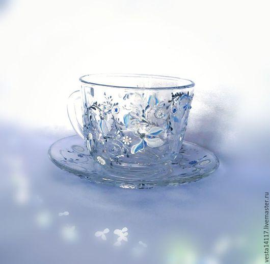 Кружки и чашки ручной работы. Ярмарка Мастеров - ручная работа. Купить Чайная пара Подснежники, стекло.. Handmade. Кружка