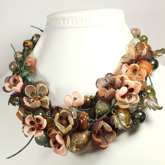 Dreams Forest River. Necklace, earrings, handmade flowers from fabric, Jewelry Sets, St. Petersburg,  Фото №1