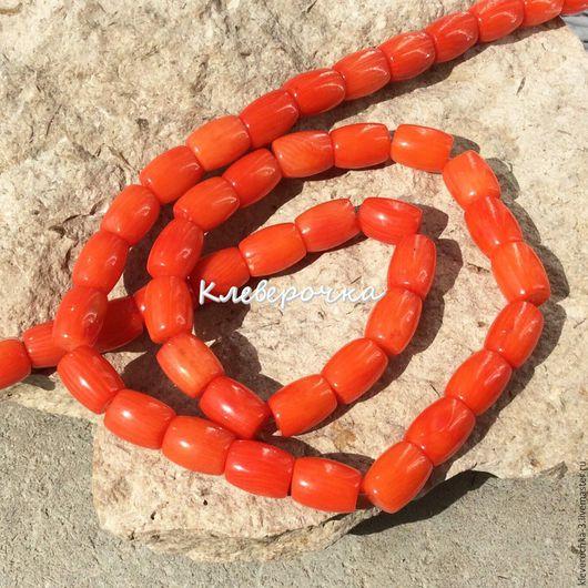 Для украшений ручной работы. Ярмарка Мастеров - ручная работа. Купить .Коралл 9 мм бочонок оранжевый натуральный бусины для украшений. Handmade.