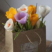 Цветы и флористика ручной работы. Ярмарка Мастеров - ручная работа букетик крокусов. Handmade.