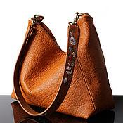 Сумки и аксессуары handmade. Livemaster - original item Cognac leather shoulder bag with embroidered strap. Handmade.