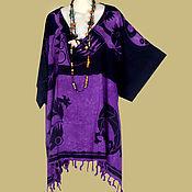 Одежда ручной работы. Ярмарка Мастеров - ручная работа Фиолетово-чёрная туника ЭТНИКА  платье, батик, свободный оверсайз. Handmade.