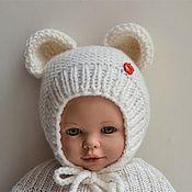 Шапки ручной работы. Ярмарка Мастеров - ручная работа Шапочка с ушками для новорожденного , шапочка для фотосессии. Handmade.
