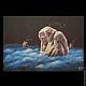 """Символизм ручной работы. Ярмарка Мастеров - ручная работа. Купить Коллекционная руническая картина """"Молчание Берегини"""". Handmade. Тёмно-синий"""