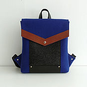 Ярко-синий рюкзак из фетра и натуральной кожи