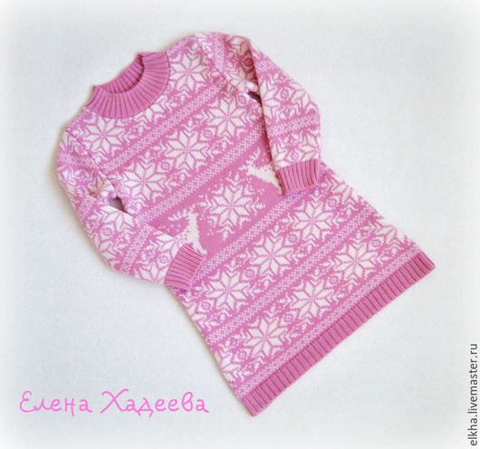"""Одежда для девочек, ручной работы. Ярмарка Мастеров - ручная работа. Купить Туника - """" Олени + снежинки в розовом"""". Handmade."""