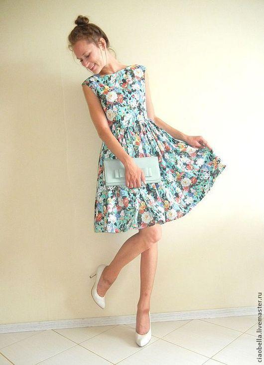 """Платья ручной работы. Ярмарка Мастеров - ручная работа. Купить Платье """"Las flores"""". Handmade. Бирюзовый, яркое платье, женственность"""