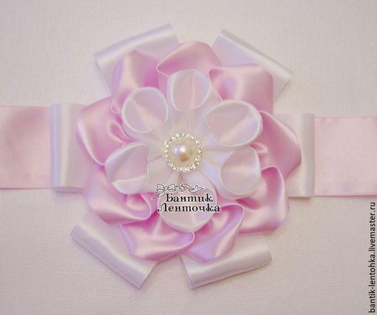 """Для новорожденных, ручной работы. Ярмарка Мастеров - ручная работа. Купить Бант на выписку из роддома """"Нежность"""". Handmade. Розовый"""
