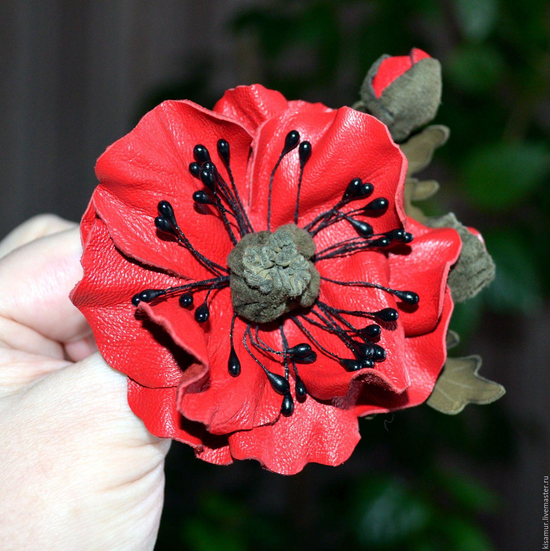 Red Poppy Brooch Leather Flower Brooch Red Brooch Pin Handmade
