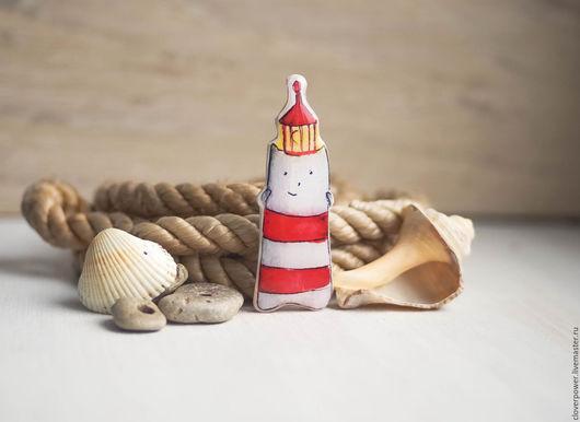 """Броши ручной работы. Ярмарка Мастеров - ручная работа. Купить Брошь """"Маякотский"""". Handmade. Белый, котик, морская тема"""