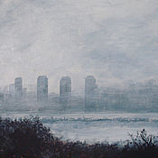 Картины и панно handmade. Livemaster - original item Painting landscape misty Morning. Ekaterinburg acrylic painting. Handmade.