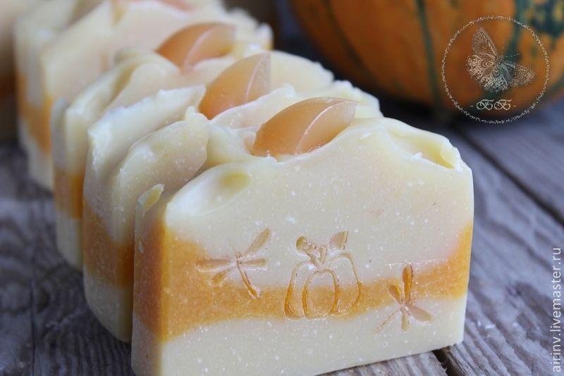"""Мыло ручной работы. Ярмарка Мастеров - ручная работа. Купить """"ТЫКВЕННОЕ"""" натуральное мыло с нуля. Handmade. Оранжевый, мыло с фруктами"""