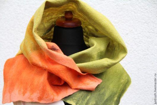 """Шали, палантины ручной работы. Ярмарка Мастеров - ручная работа. Купить Валяный палантин """"Сочная мокровка"""". Handmade. Оранжевый, шаль"""