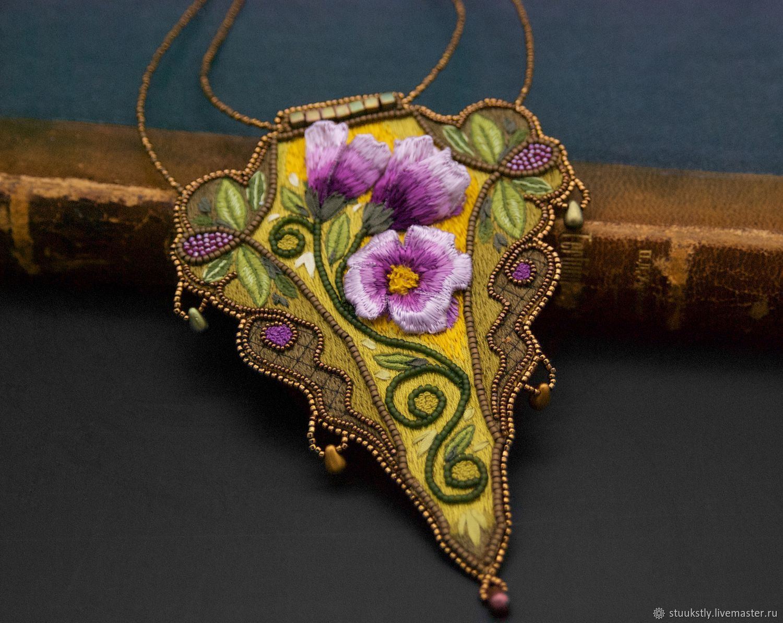 Rose Art Nouveau Elven Stumpwork Embroidered Pendant, Pendants, Moscow,  Фото №1