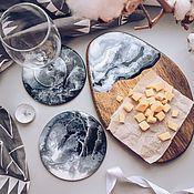 Наборы посуды ручной работы. Ярмарка Мастеров - ручная работа Серивировочный набор из двух подстаканников и сырной тарелки. Handmade.