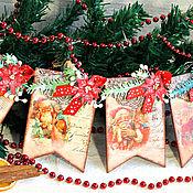 Подарки к праздникам handmade. Livemaster - original item Vintage garland of flags a Letter to Santa Claus decoupage. Handmade.
