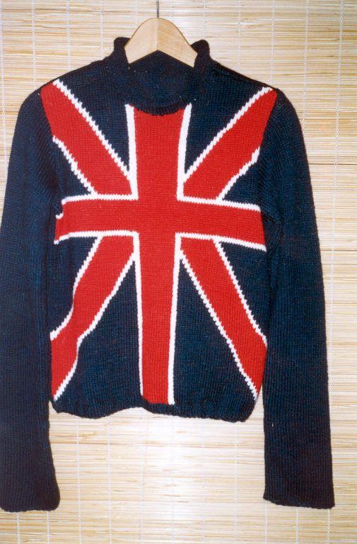 Мужская одежда: свитер с английским флагом (шерсть)