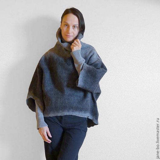 Кофты и свитера ручной работы. Ярмарка Мастеров - ручная работа. Купить Валяная блуза-туника Oversized. Handmade. Темно-серый