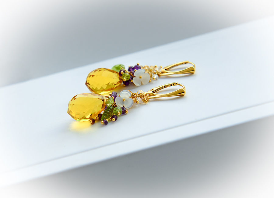Earrings with citrine, chrysolite, amethyst, quartz, Earrings, Moscow,  Фото №1