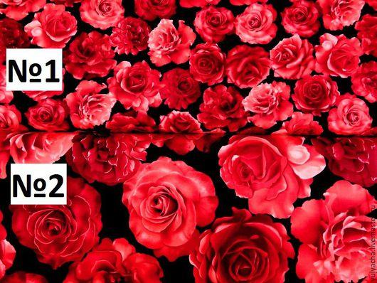 Шитье ручной работы. Ярмарка Мастеров - ручная работа. Купить Американский хлопок. Красные розы 3D.. Handmade. хлопковая ткань