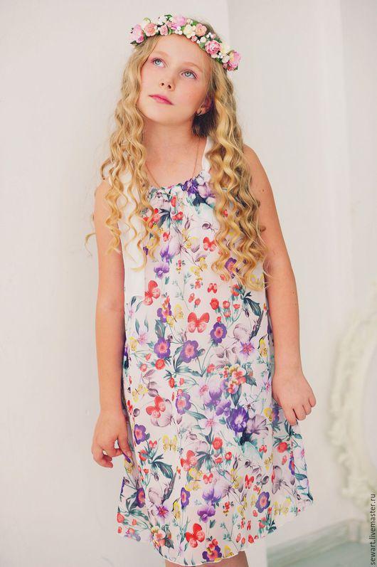 Платья ручной работы. Ярмарка Мастеров - ручная работа. Купить Платье детское из итальянского шифона с цветочным принтом. Handmade.