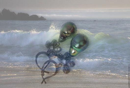 """Серьги ручной работы. Ярмарка Мастеров - ручная работа. Купить """"Морские изумруды"""" серебряные серьги с таитянским жемчугом. Handmade. Зеленый"""