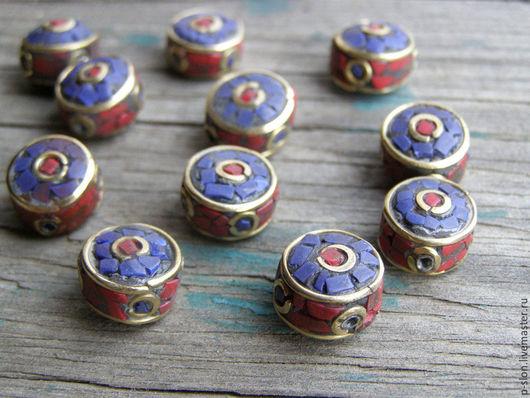 Для украшений ручной работы. Ярмарка Мастеров - ручная работа. Купить Этнические бусины с лазуритом и кораллом, Непал БН26. Handmade.