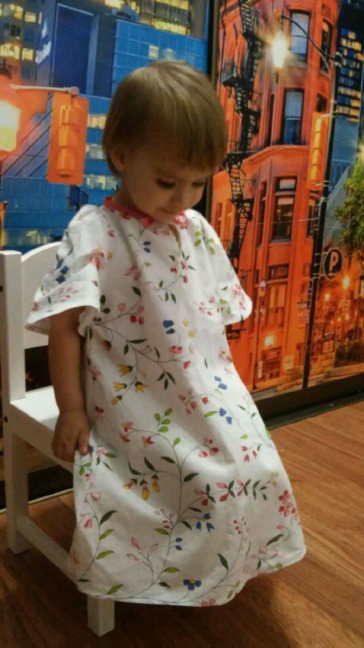 """Одежда для девочек, ручной работы. Ярмарка Мастеров - ручная работа. Купить детская ночнушка """"полевые цветы"""". Handmade. Белый, для девочки"""