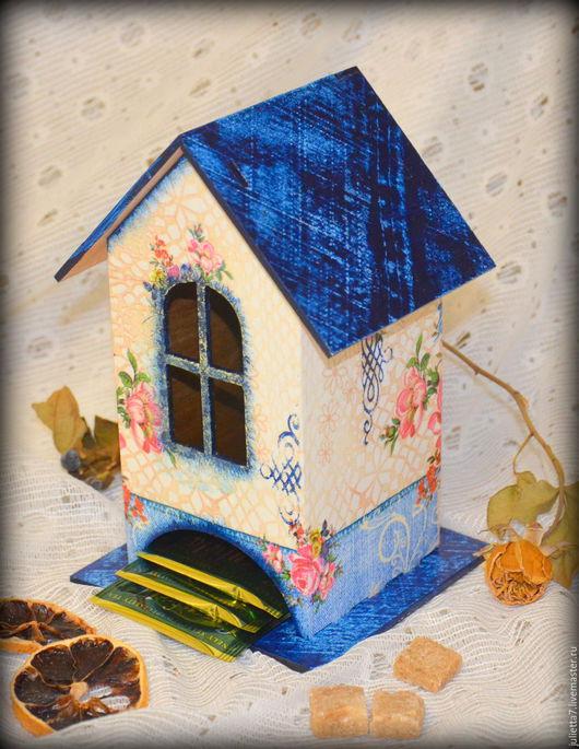 """Кухня ручной работы. Ярмарка Мастеров - ручная работа. Купить Чайный домик """"Джинсовый"""". Handmade. Чайный домик, чайная коробка"""