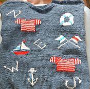 """Работы для детей, ручной работы. Ярмарка Мастеров - ручная работа """"Моряк""""Джемпер с коротким рукавом для мальчика. Handmade."""